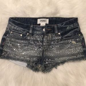 Pink Victoria secret sparkle bejeweled denim short